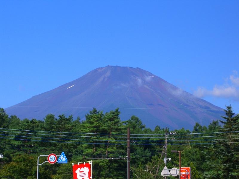 下山後に仮眠 帰路に富士山を振り返る