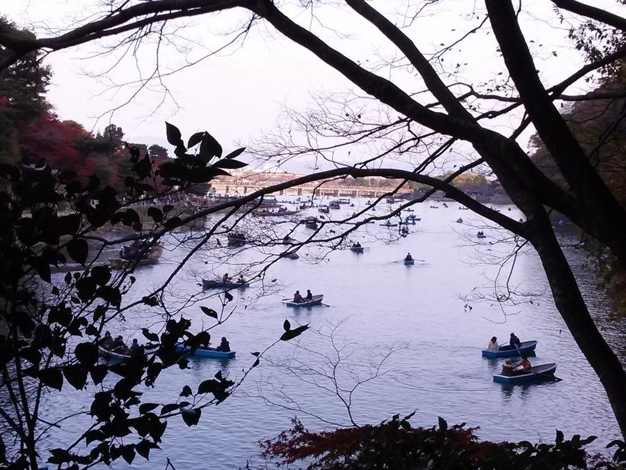 向こうに見えるは渡月橋 紅葉の嵐山・・京都府京都市